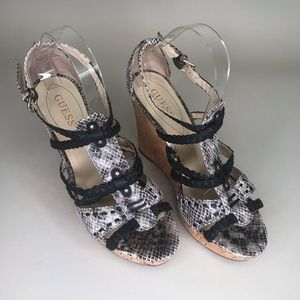 Guess Black Snakeskin Cork Wedge Shoes Strappy 9